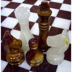 Шахматы из камня большие оникс - яшма
