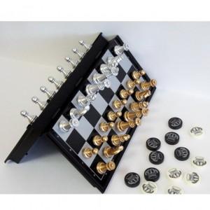 Магнитный набор игр шахматы-шашки, Золото-серебро 25 х 25 см.
