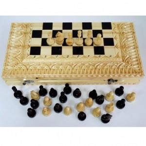 Деревянные шахматы в резном ларце 50 см.