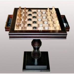 Шахматный стол квадратный с ящичками, комплектом фигур и шашек