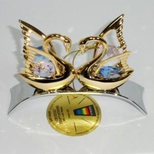Золото 24К и кристаллы сваровски сувенир Два лебедя