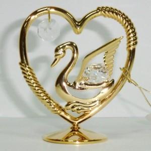 Лебедь и сердце 24К и кристаллы сваровски