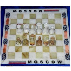 Каменные шахматы из оникса 30 см. – Москва