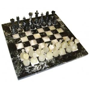 Шахматы каменные 30х30см. черный мрамор-оникс