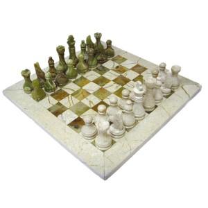 Шахматы каменные 30 х 30 см. оникс-яшма