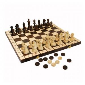 Игровой набор Шахматы шашки дерево 48 см.