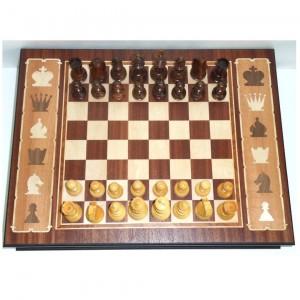 Шахматы из палисандра в инкрустированном ларце 46 х 35 см.