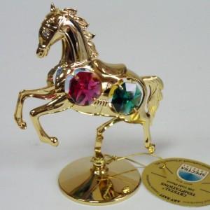 Лошадка на подставке с цветными кристаллами сваровски