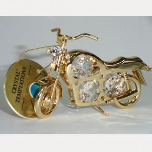 Сувенирный мотоцикл Подарок байкеру золото 24К и Swarovski