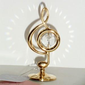 Сувенир скрипичный ключ 8 см. золото 24К и Swarovski