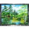 Картина 30х40 см. из каменной крошки на массиве камня Летний пейзаж