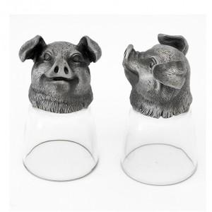 Винный набор Свинья это 2 стопки перевертыша в подарочной коробке