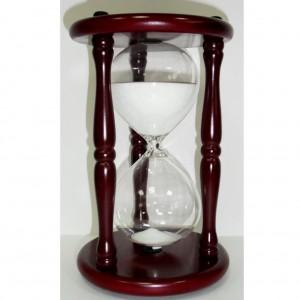 VIP подарок. Песочные часы 30 минут, 24 см., блестящий белый песок