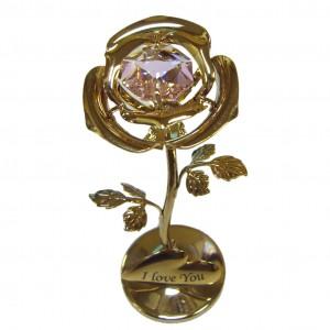 Золотая розочка с розовым цветком 8 см. и swarovski