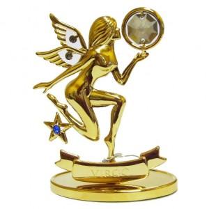 Зодиак Дева с золотым покрытием украшен криталлами Swarovski