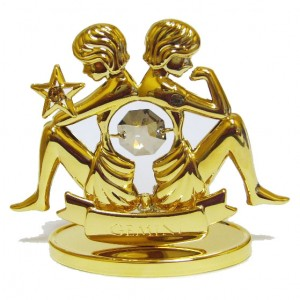 Подарок по зодиаку Близнецы, золото 24К и сваровски прозрачный лёд