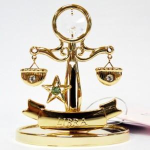 Подарок по зодиаку сувенир Весы, 24К и сваровски прозрачный лёд