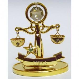 Сувенир подарок по зодиаку Весы, топаз и золотое покрытие
