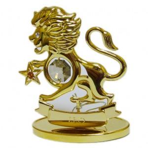 Знак зодиака Лев с кристаллом swarovski прозрачный лёд и золотым покрытием