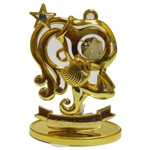 Подарок по зодиаку сувенир Водолей золото и swarovski