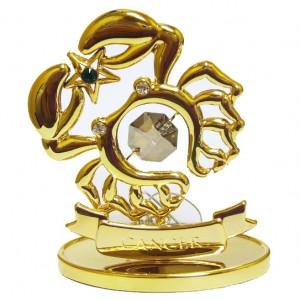 Сувенир Знак зодиака Рак, кристалл сваровски топаз и золотое покрытие