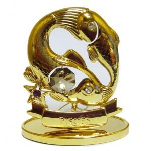 Знак зодиака Рыбы, сваровски - топаз и золотое покрытие
